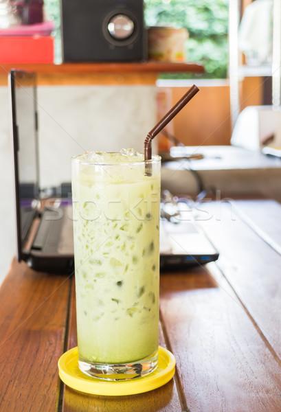 стекла зеленый чай складе фото древесины Сток-фото © nalinratphi