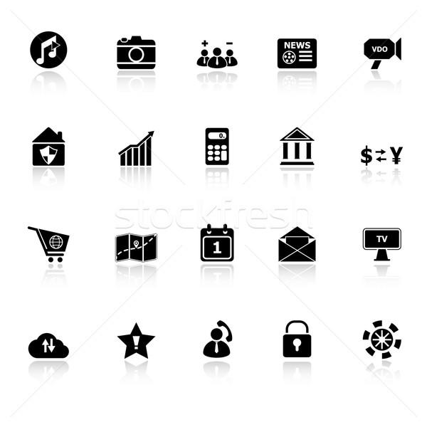 Smart phone icons with reflect on white background Stock photo © nalinratphi