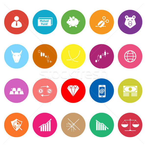 Stock market flat icons on white background Stock photo © nalinratphi