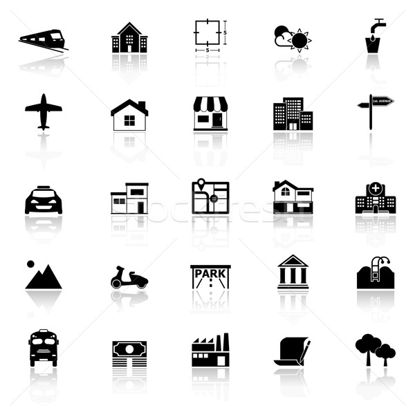 Real estate icons with reflect on white background Stock photo © nalinratphi