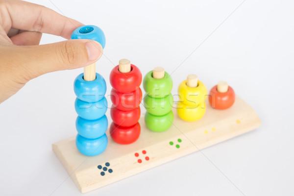 Jogar colorido brinquedo de madeira estoque foto grupo Foto stock © nalinratphi