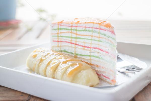 Zoete dessert banaan karamel crêpe cake Stockfoto © nalinratphi