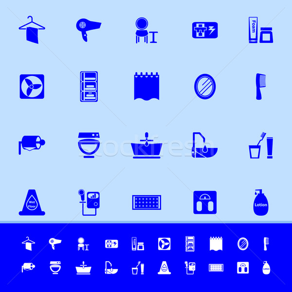 Badkamer kleur iconen Blauw voorraad vector Stockfoto © nalinratphi