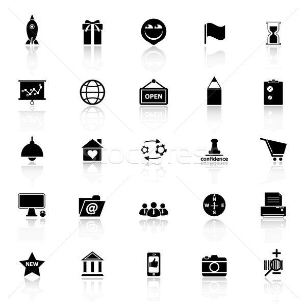 Business start up icons with reflect on white background Stock photo © nalinratphi