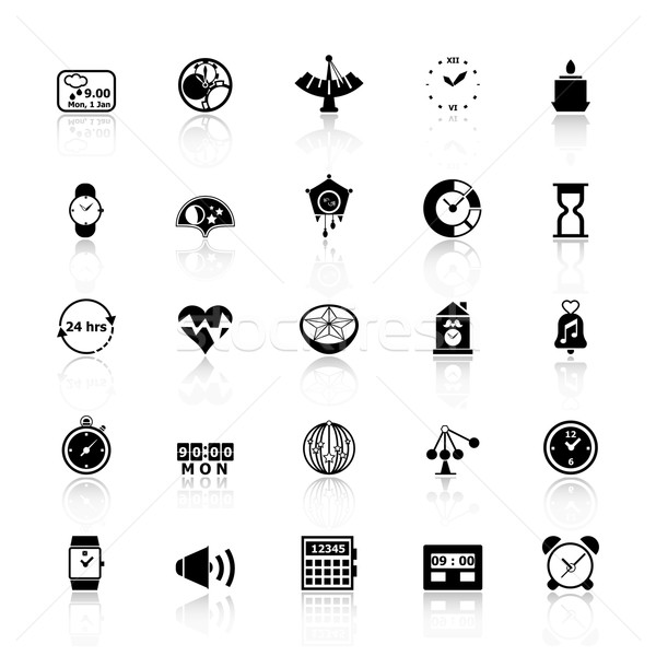 Design time icons with reflect on white background Stock photo © nalinratphi