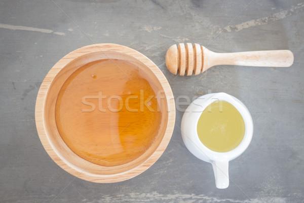 Arany méz csésze citrus dzsúz felső Stock fotó © nalinratphi