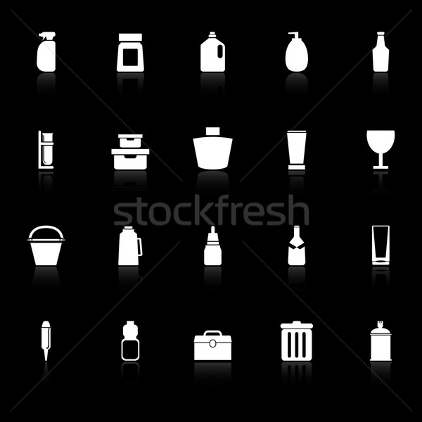 Design package icons with reflect on black background Stock photo © nalinratphi