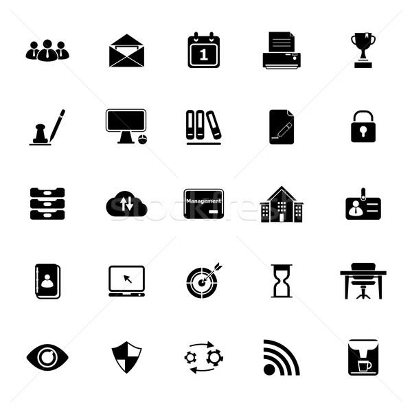 Business management icons on white background Stock photo © nalinratphi