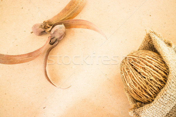 Mix of dried plant ornament on wooden background Stock photo © nalinratphi