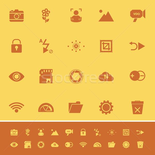 Photography sign color icons on orange background Stock photo © nalinratphi