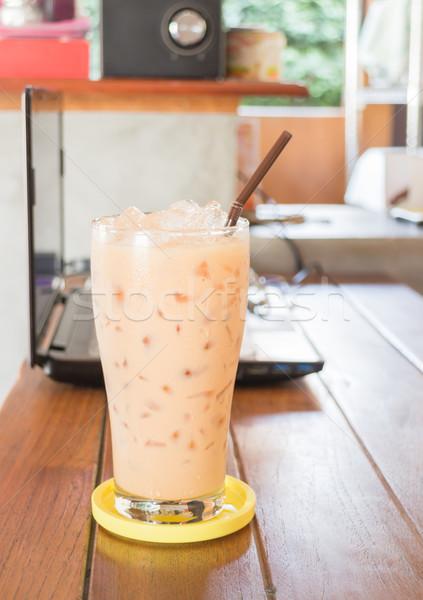 Glas thai melk thee voorraad Stockfoto © nalinratphi
