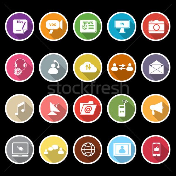 Média ikonok hosszú árnyék stock vektor Stock fotó © nalinratphi