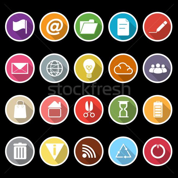 Web internet pictogrammen lang schaduw voorraad vector Stockfoto © nalinratphi