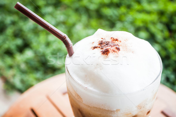 Refreshing glass of cold espresso with micro foam Stock photo © nalinratphi