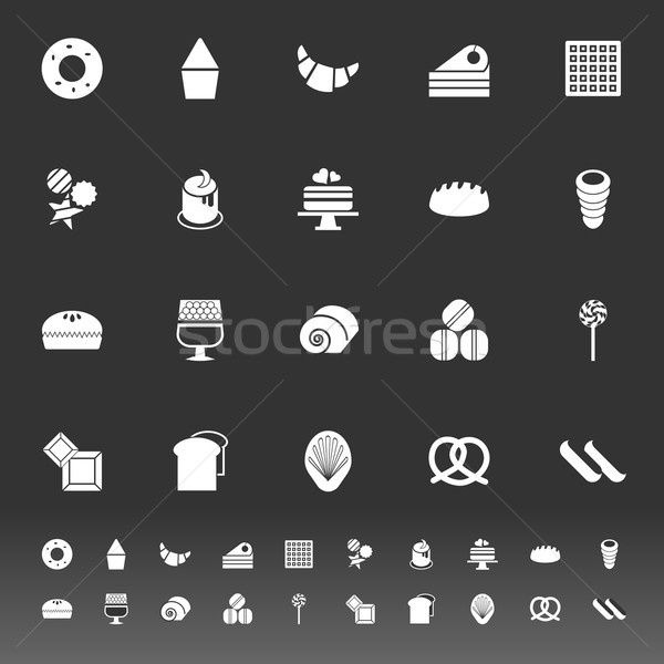 Variety bakery icons on gray background Stock photo © nalinratphi