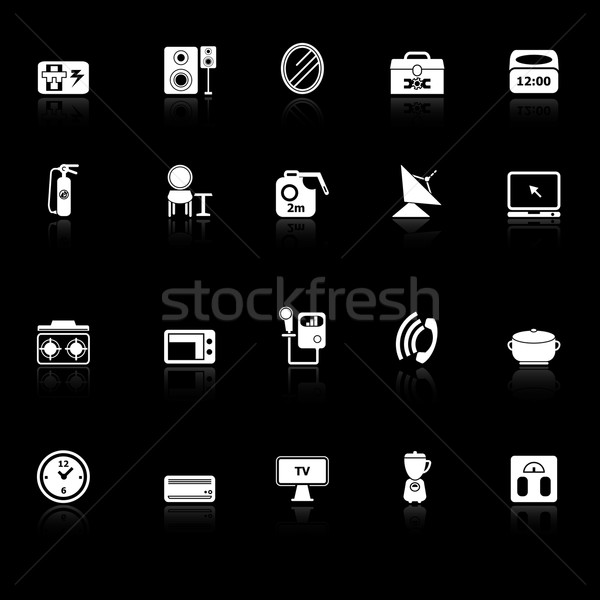 House related icons with reflect on black background Stock photo © nalinratphi