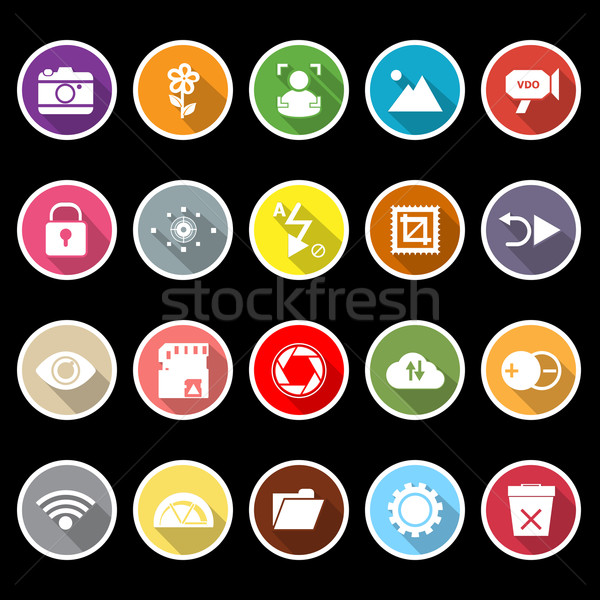 Fotografie teken iconen lang schaduw voorraad Stockfoto © nalinratphi