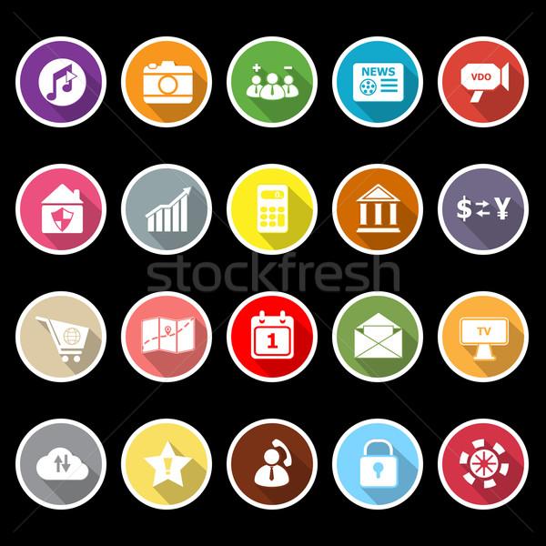 Smart phone icons with long shadow Stock photo © nalinratphi