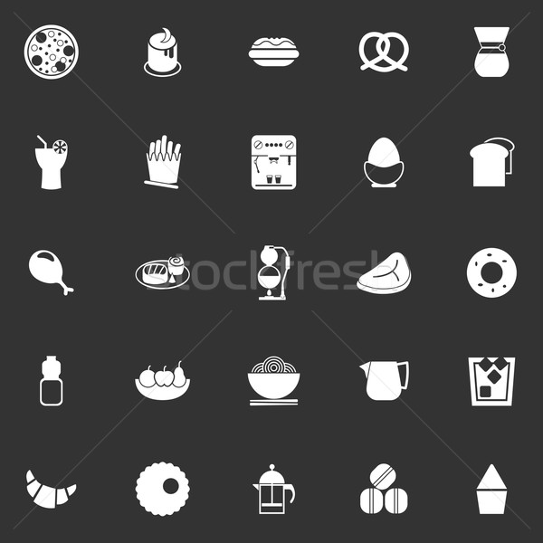 Easy meal icons on gray background Stock photo © nalinratphi
