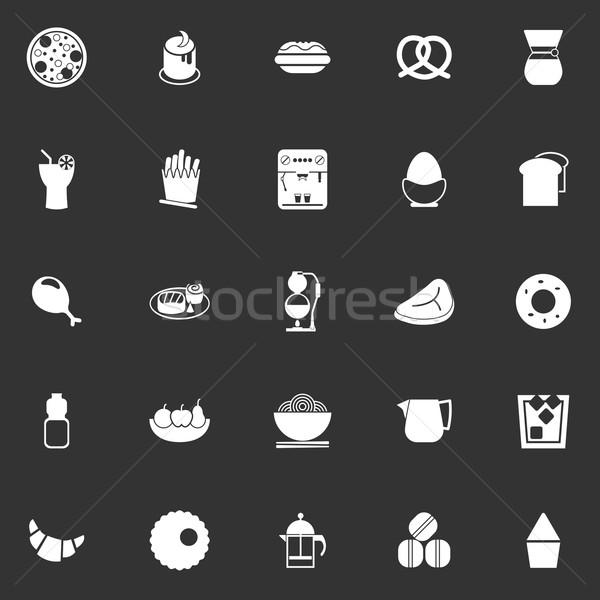 Kolay yemek simgeler gri stok vektör Stok fotoğraf © nalinratphi