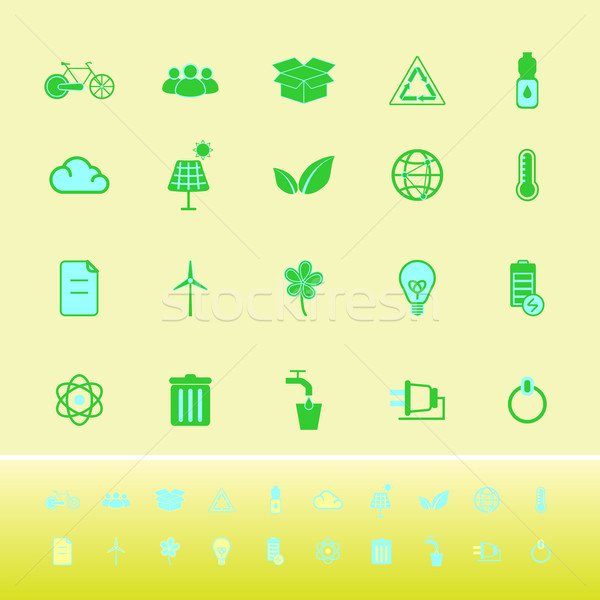Ecology color icons on yellow background Stock photo © nalinratphi