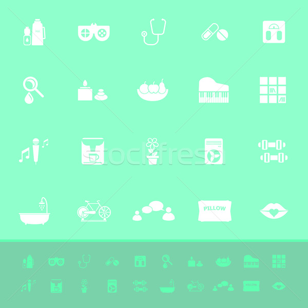 Wellness color icons on green background Stock photo © nalinratphi