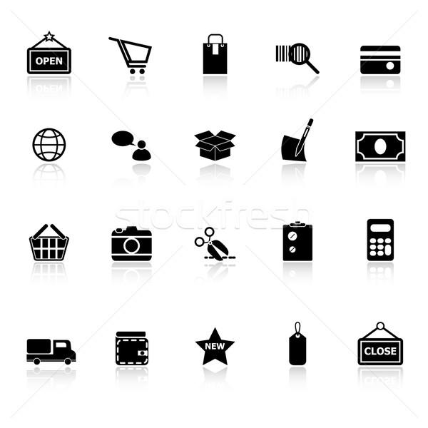 Shopping icons with reflect on white background Stock photo © nalinratphi