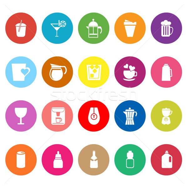 Variety drink flat icons on white background Stock photo © nalinratphi
