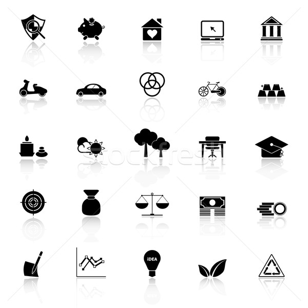 Sufficient economy icons with reflect on white background Stock photo © nalinratphi