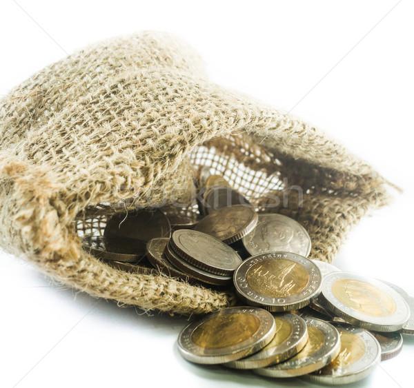 Thai moedas pequeno saco branco estoque Foto stock © nalinratphi