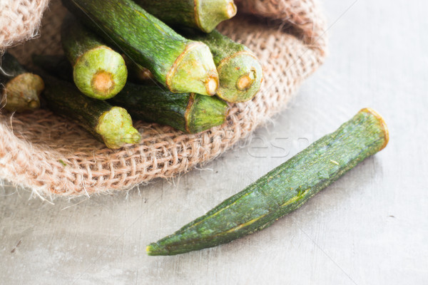 Healthy okra chips on clean background Stock photo © nalinratphi