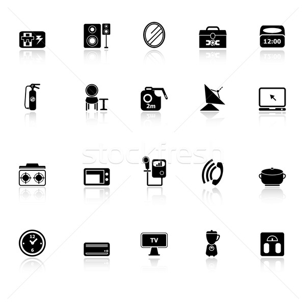 House related icons with reflect on white background Stock photo © nalinratphi