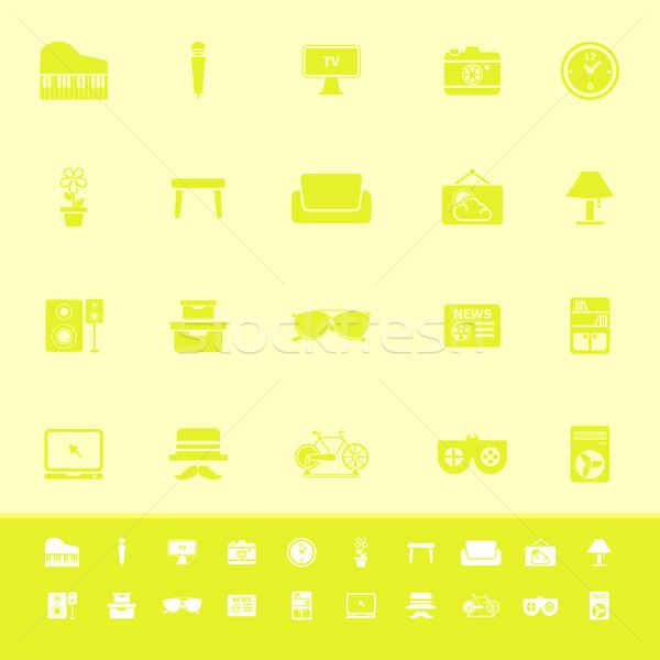 Foto stock: Salón · color · iconos · amarillo · stock · vector