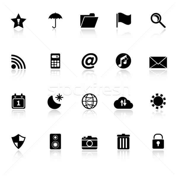 Tool bar icons with reflect on white background Stock photo © nalinratphi