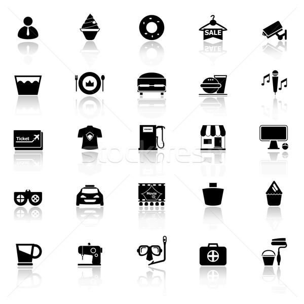 Franchisee business icons with reflect on white background Stock photo © nalinratphi