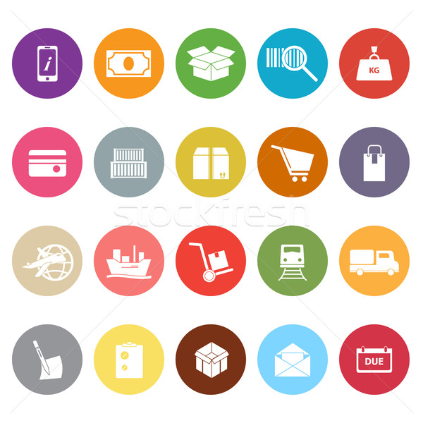 Shipment flat icons on white background Stock photo © nalinratphi