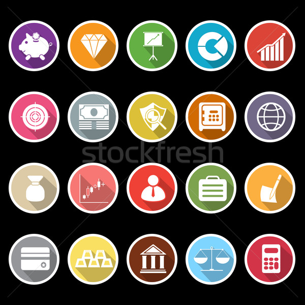 Finance icons with long shadow Stock photo © nalinratphi