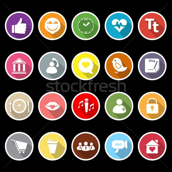 Conversar conversa ícones longo sombra estoque Foto stock © nalinratphi