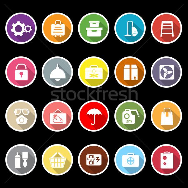 Otthon raktár ikonok hosszú árnyék stock Stock fotó © nalinratphi