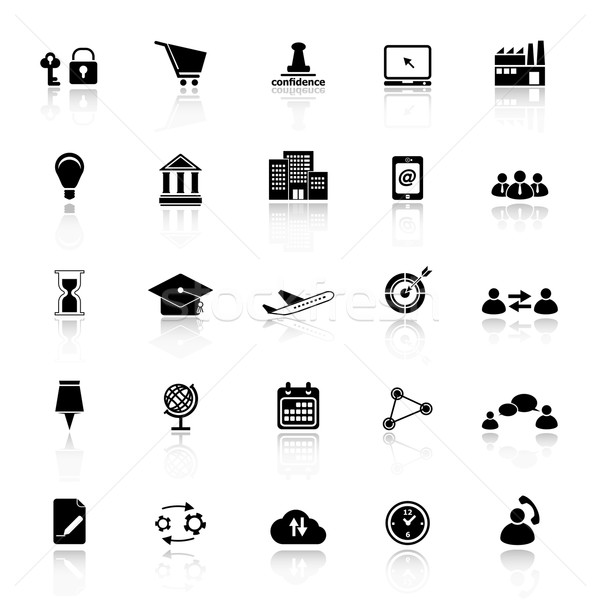 Business connection icons with reflect on white background Stock photo © nalinratphi