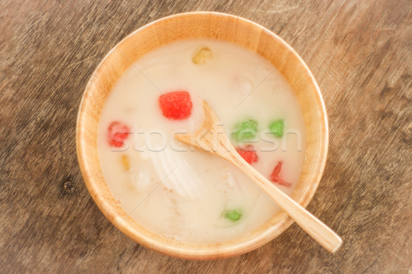 Water chestnut coated with tapioca starch in coconut cream Stock photo © nalinratphi