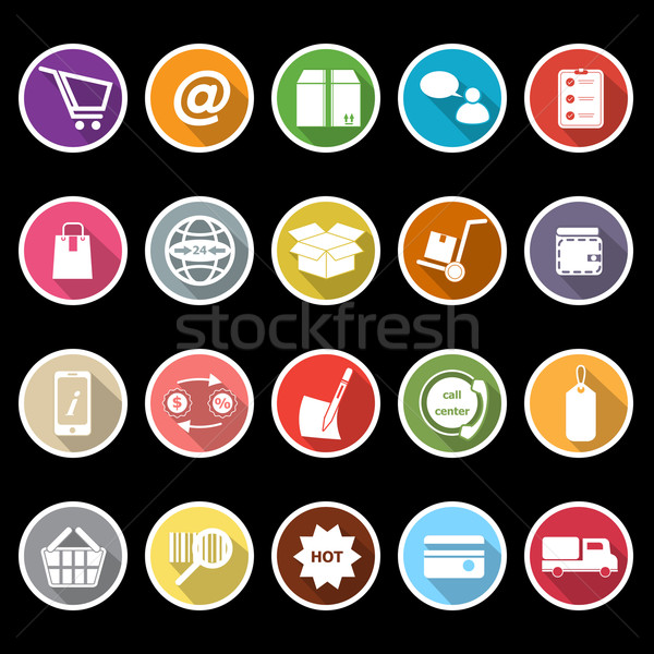 Ecommerce icons with long shadow Stock photo © nalinratphi