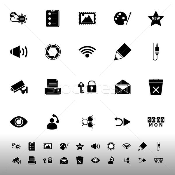 Geral tela do computador ícones branco estoque vetor Foto stock © nalinratphi