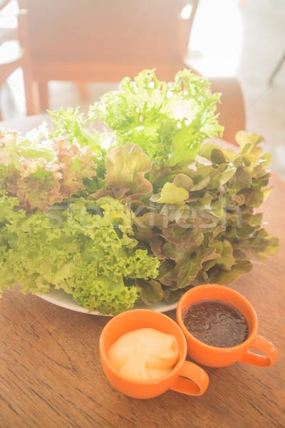 Taze organik salata yemek pansuman stok Stok fotoğraf © nalinratphi