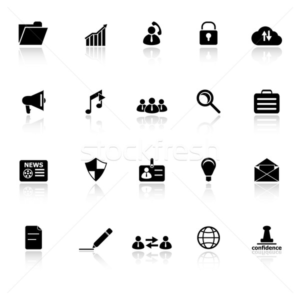 General document icons with reflect on white background Stock photo © nalinratphi