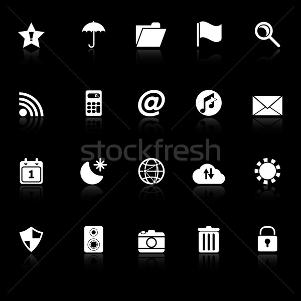Tool bar icons with reflect on black background Stock photo © nalinratphi