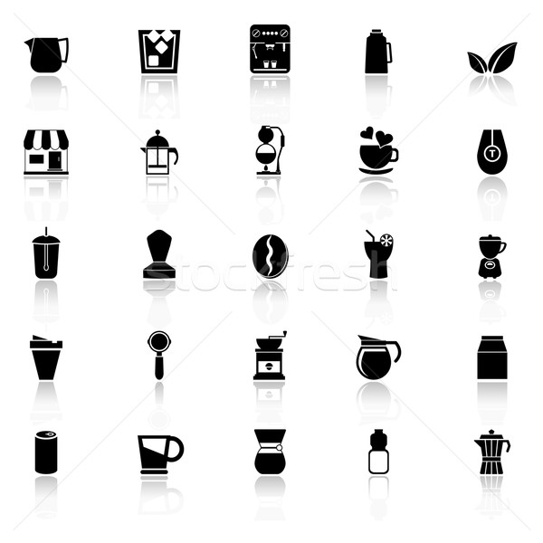 Coffee and tea icons with reflect on white background Stock photo © nalinratphi