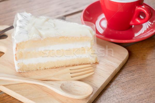 горячей чашку кофе молодые кокосового торт складе Сток-фото © nalinratphi