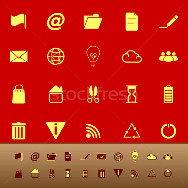 Web and internet color icons on red background Stock photo © nalinratphi
