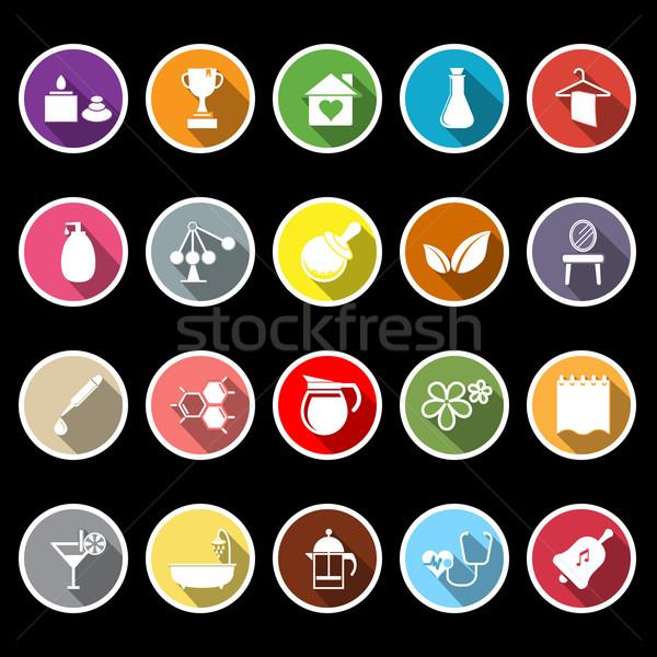 Leczenie uzdrowiskowe ikona długo cień czas wektora Zdjęcia stock © nalinratphi